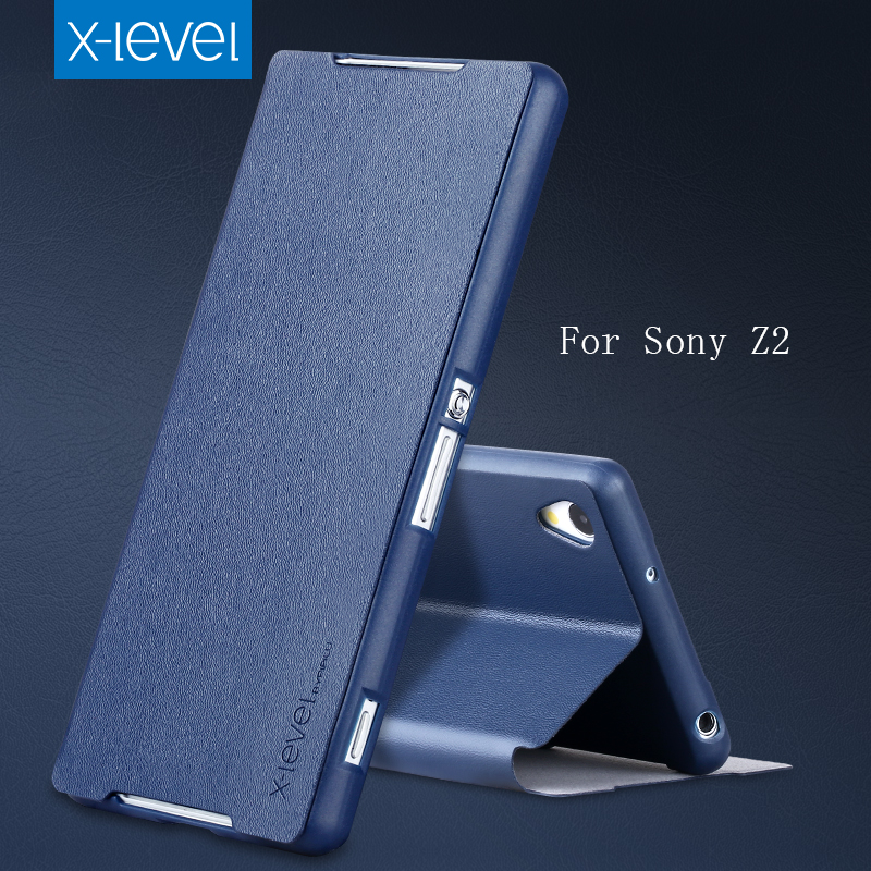 X-Level Flip PU Leather Case For Sony Xperia Z2 Stand Phone Back Cover Case For Sony Xperia Z2 Business Plain Phone Case