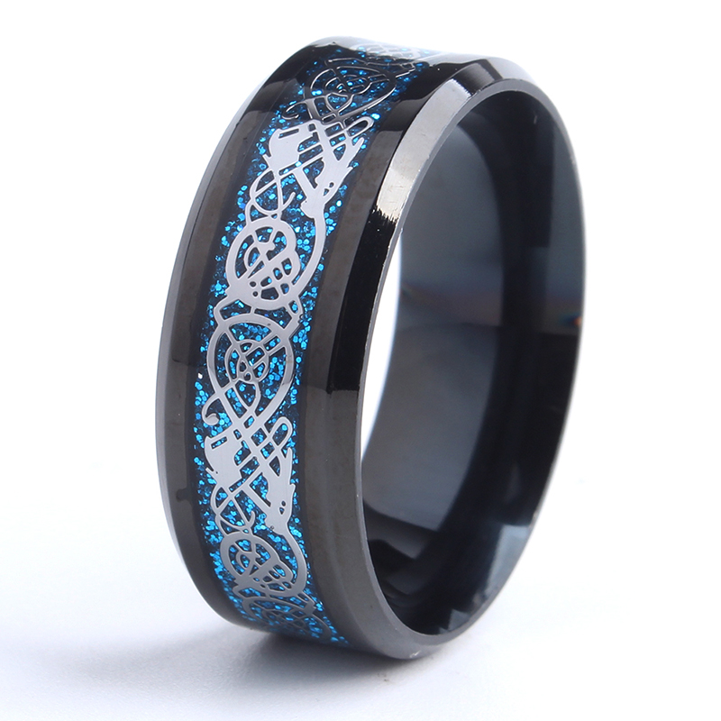 Blue Silvering Celtic Dragon Tungsten Wedding Rings
