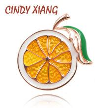 CINDY XIANG 2 Colors Choose Enamel Lemon Brooch Unisex Women Men Brooch Pin Cute Fruit Brooches Fashion Jewelry Dress Coat Gift cindy xiang new arrival cute summer skating girl brooches for women 2 colors choose wearing dress dancing lady brooch pin enamel