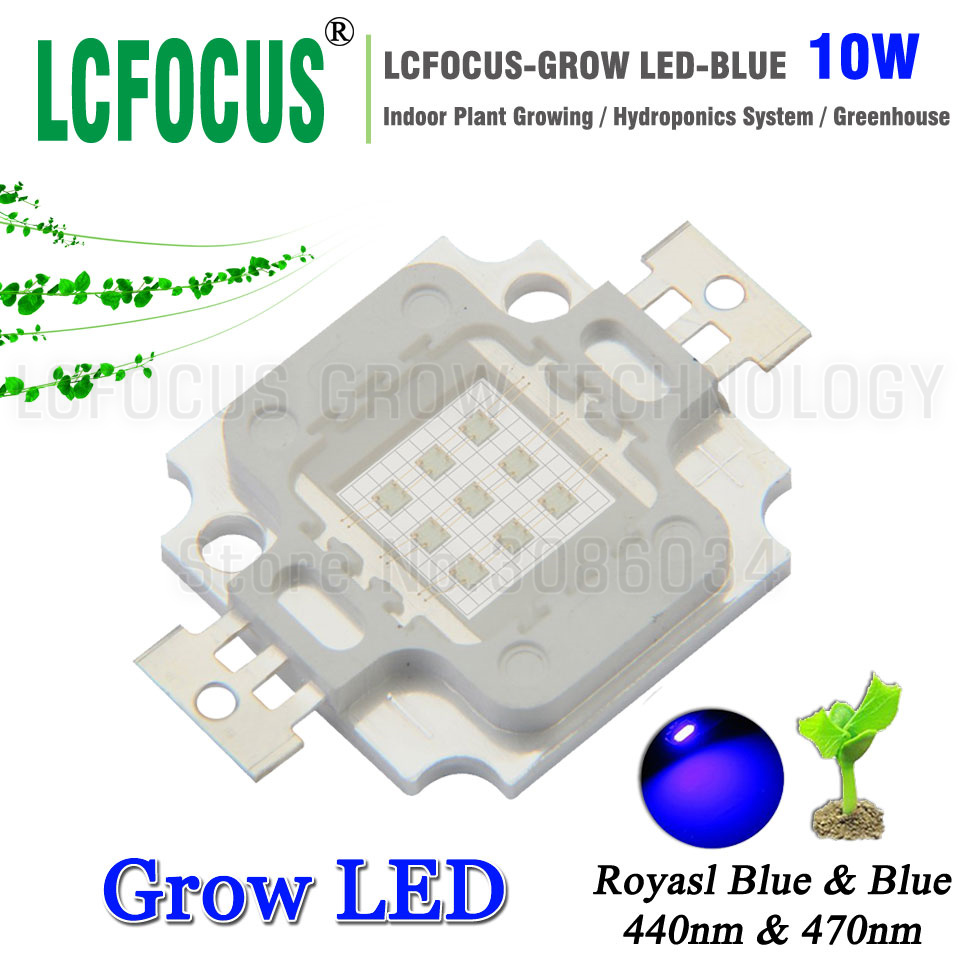 High Power LED Chip 10W Royal Blue 440nm 470nm COB DIY 50W 100W 200W LED Grow Light For Vegetable Fruit Flower Indoor Plant