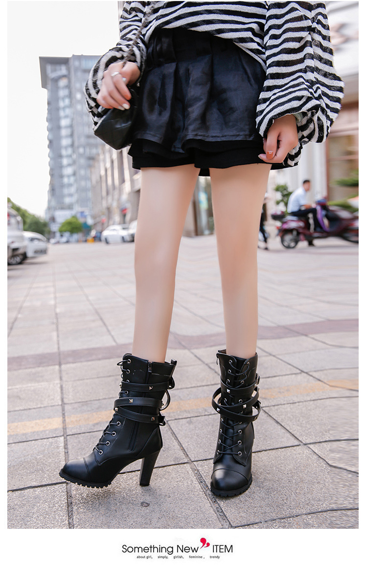 HUANQIU 2019 fashion ladies boots spring zipper rivet thick middle boots high heel Martin boots large size 43 women shoes ZLL675 18