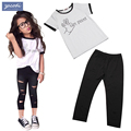 New Europe style design girls clothing sets fashion letters white T-shirt + hole trousers 2PCS children clothing girls clothes