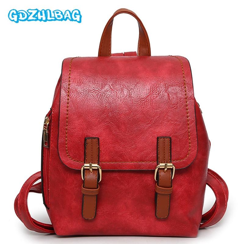 2018 Fashion Vintage PU Leather Backpacks For Women Bookbag Mini Backpack School College Female Girls bagpack Mochila B241 fashion rivet zipper solid women pu leather lady backpack multi function mini bagpack backpacks hb25 32
