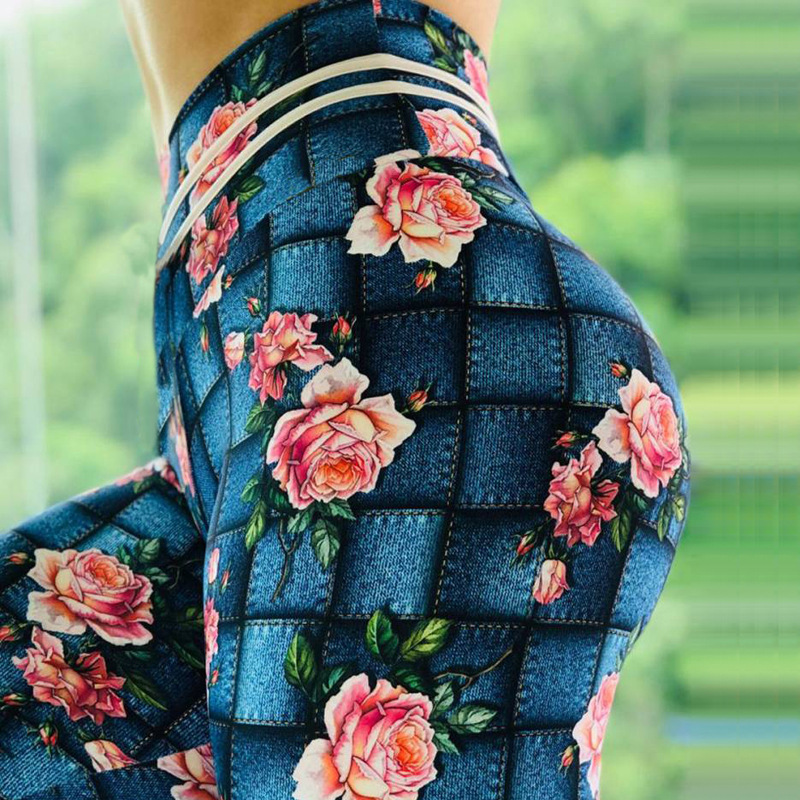 Rose Flower Printed Fitness   Leggings   Denim Square Print Women High Waist   Leggings   Elastic Push Up Skinny Pants Drop Shipping