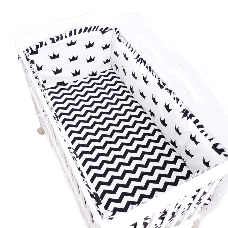 6pcs/set Black White Style Toddler Baby Bedding Set Crib Around Protect Bumpers Cotton Baby Cot Set Include Bumpers Sheet Pillow promotion 6pcs baby bedding set cot crib bedding set baby bed baby cot sets include 4bumpers sheet pillow