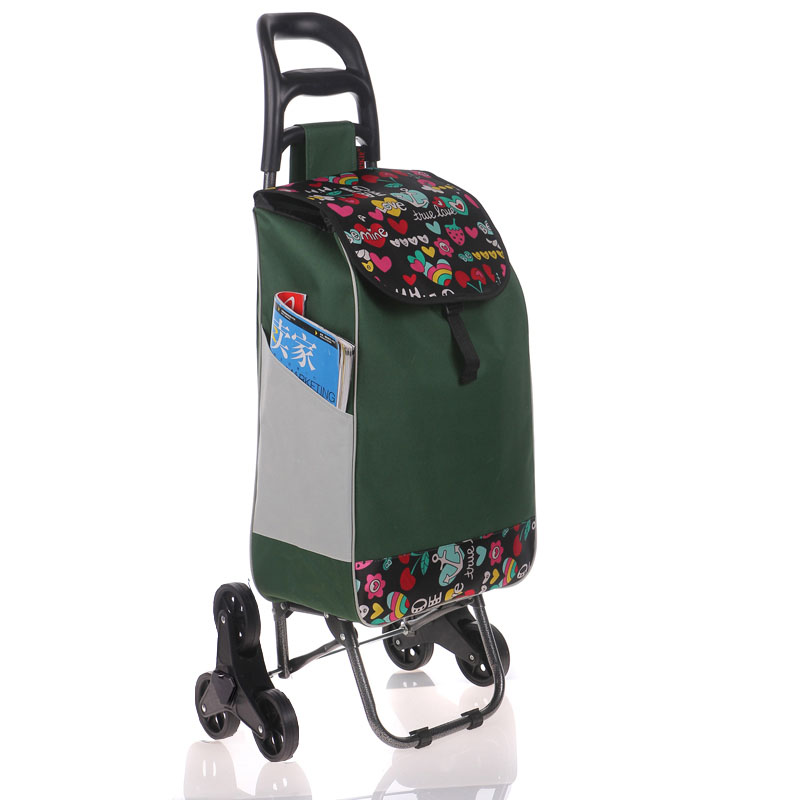 Six Wheel Folding Climbing Cart Portable Shopping Cart Quality Steel Pull Rod Trolley With 600D Oxford