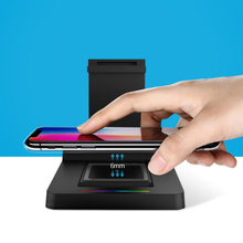For iPhone XS X samsung s8 s9 note9 Bluetooth Speaker 2600mah Power Bank QI Wireless charging Folding Phone Holder Desktop Stand