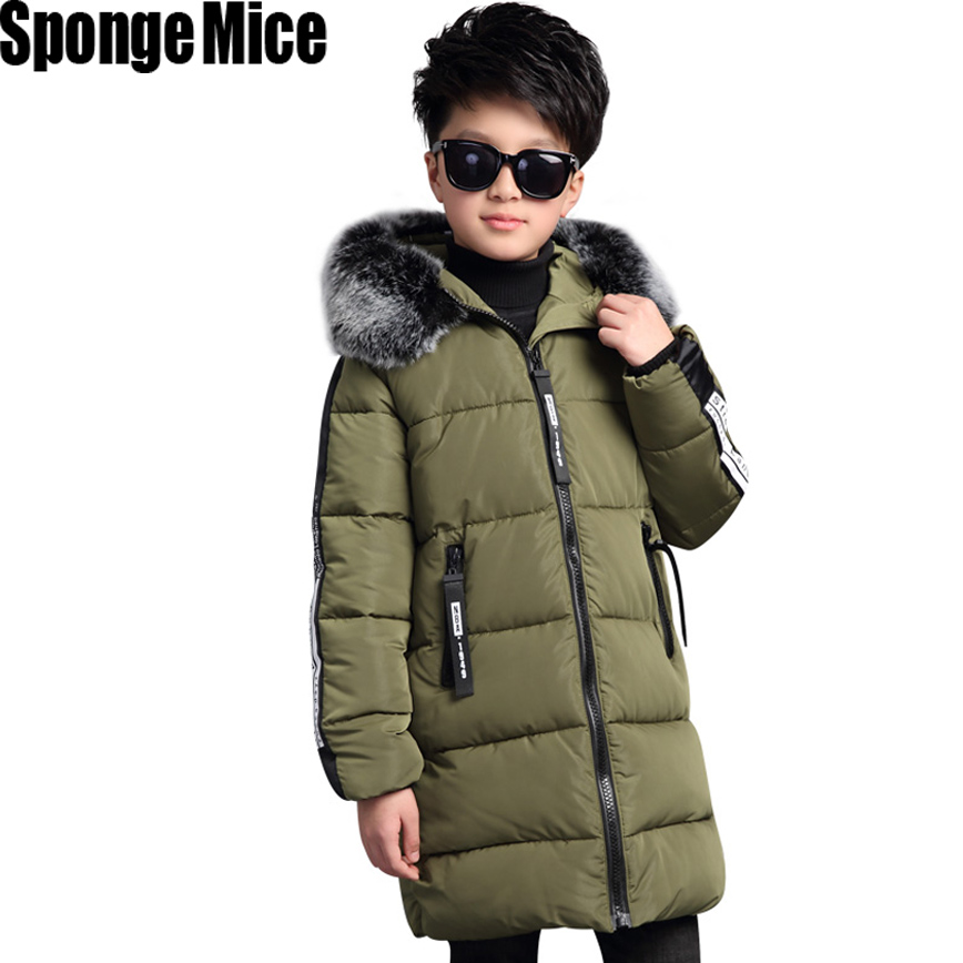 Winter New Kids Boys Down Jacket Fur Collar Thicken Warm Children Parka Coat 5 Printed Hooded Outerwear Cotton-padded Clothing top ec mens winter thicken warm smalltand collar down jacket coat