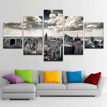 Canvas Wall Art HD Prints Pictures Living Room 5 Pieces New York City Building Aerial view Paintings Home Decor Poster Framework