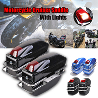 2Pcs Bright Black/Matte Black/Blue Motorcycle Cruiser Hard Trunk Saddle Bags Luggage Brackets With Lights Mounted ABS
