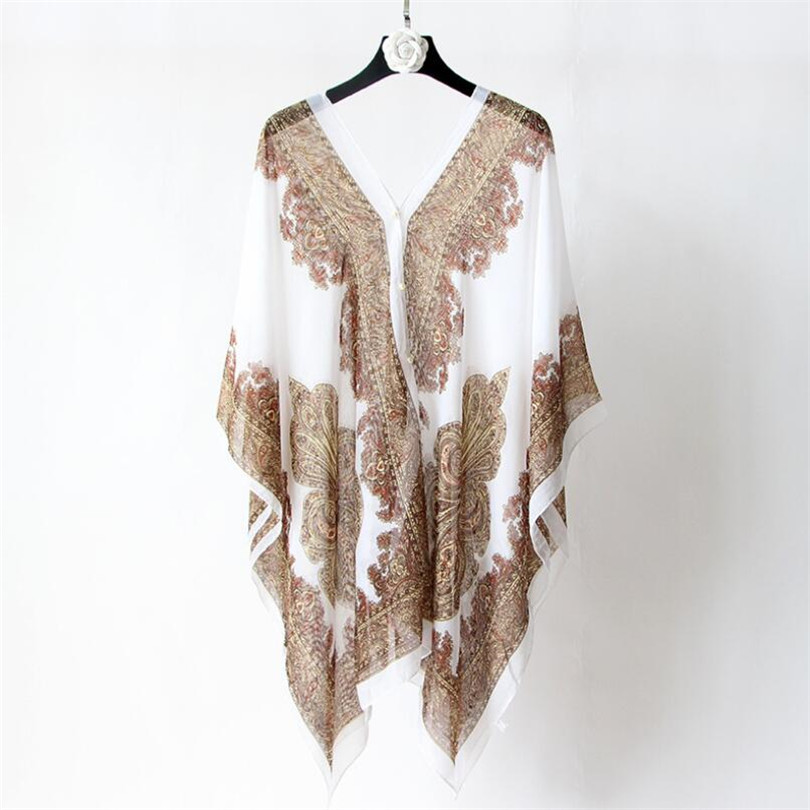 VISNXGI Fashion Floral Chiffon Blouses Women Spring Summer Style Beachwear Cover Up Elegant Flower Print Chiffon Loose Shirt 14