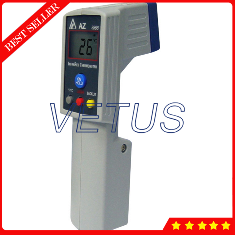 AZ8868 digital infrared temperature meter with measuring range -20~420C Gun Type IR Thermometer 8:1 optometric economic digital pupillometer cx8 stable quality ce marked accurate measuring pd meter