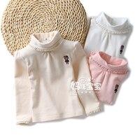 新しい 2015春秋の赤ちゃん服女の子長袖tシャツ子供赤ちゃん高襟王女プルオーバートップ