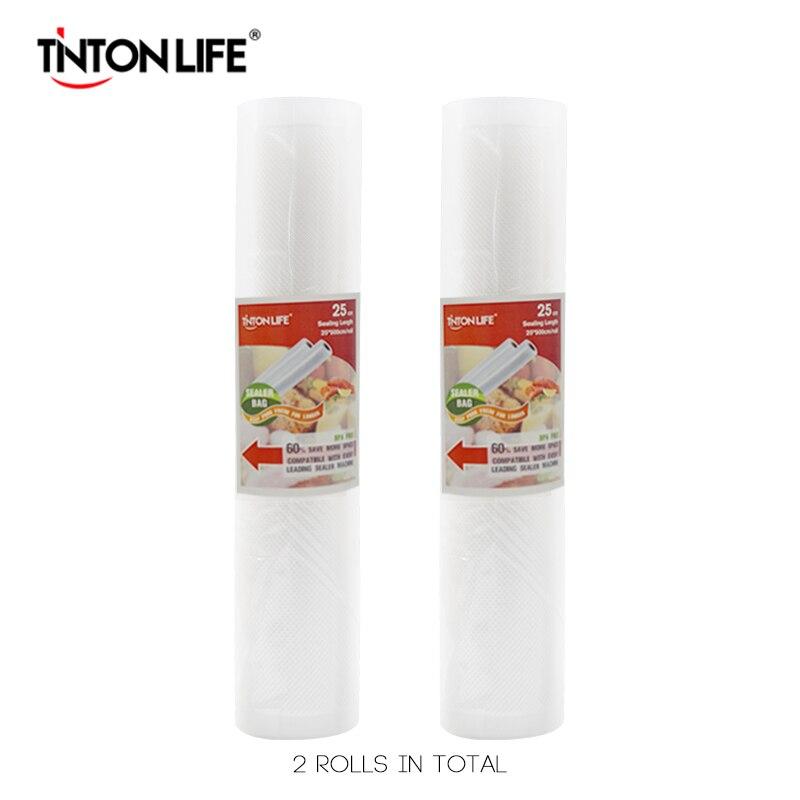 TINTON VIE 25 cm * 500 cm 2 Rouleaux/set Vide Scellant De Stockage Sacs Grade pour Sous Vide et foodsaver