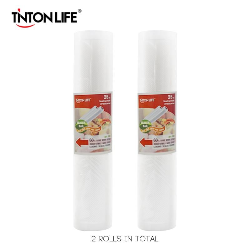 TINTON LIFE 25cm 500cm 2 Rolls Set Vacuum Sealer Storage Bags Grade For Sous Vide And
