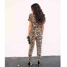 Leopard V Neck Short Sleeve Jumpsuit RK