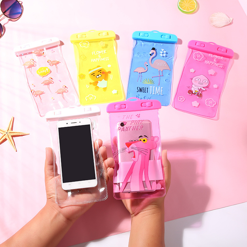 New Cute Flamingo Waterproof Pouch Bag PVC Cell Phone Case For iPhone Samsung Coin Purse Card Holder Storage Wallet Bag