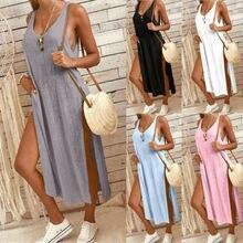 Новая горячая летняя мода новейшего размера плюс женская хлопковая однотонная длинная футболка без рукавов с v-образным вырезом Топы повседневные платья