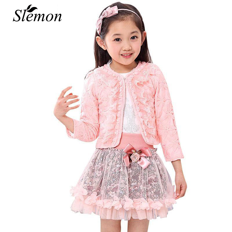 2018 Fashion Children Clothing for Kids Flower Outfits Sets Girls 3 Piece Princess Lace Ruffle Cardigan Tops Tutu Skirts Suits 2017 new princess baby girls clothing sets summer sleeveless tops and tutu seqiun lace mini skirt 2pcs party girls outfits 2 7y