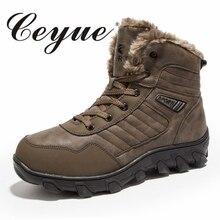 Ceyue ручной работы Мужские ботинки Новинка 2017 года Обувь на теплом меху большой Размеры 39–46 Снегоступы Нескользящие мужские зимние сапоги Для мужчин качества повседневная обувь для Для мужчин
