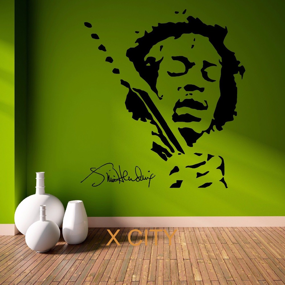 jimmy hendrix music pop star vinyl wall art room sticker decal door window stencils mural decor. Black Bedroom Furniture Sets. Home Design Ideas