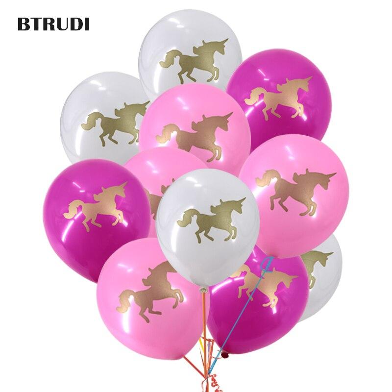 Licorne impression de parti ballons 10 pouces 30/50 pcs Thème parti bébé de douche Joyeux anniversaire parti décoré ballon Deux licorne gravures