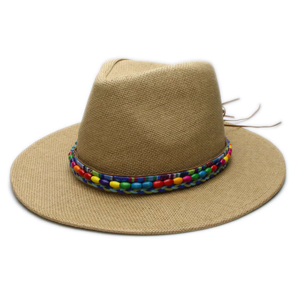 Head Circumference  Approx 58cm  22.8 Inches Height Size 11cm  4.3 Inches  Brim 7cm 2.8inch. Band National Wind Wood Beads Leather Band Material  Straw ef9073990088