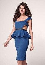 Mode neue sexy feste Nachtclub tragen Cocktail Formale Sommer Herbst aushöhlen Neutraler Seite Belted Schößchen Kleid Rot blau LC6164