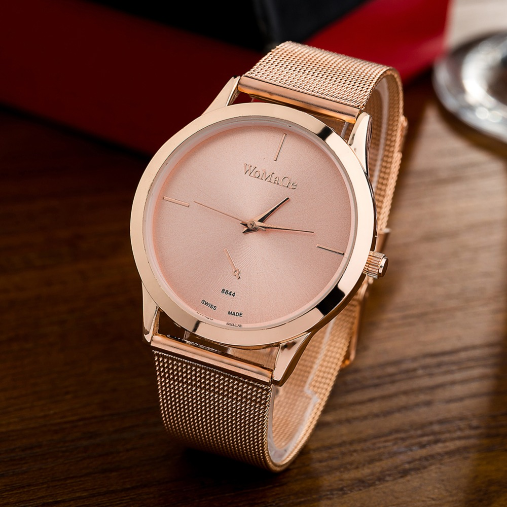 Womage Brand Watches Women Rose Gold Color Popular Designer Ladies Wristwatch Simple Style Alloying Band Dress Quartz Watch
