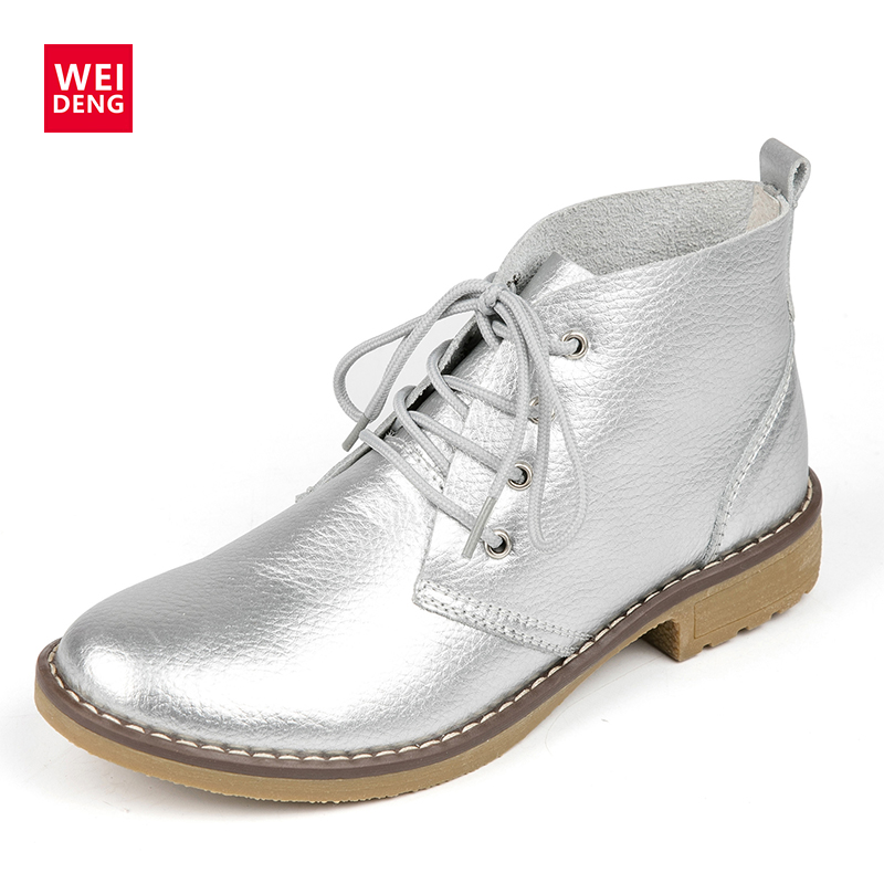WeiDeng Women Ankle Boots Fashion Outdoor Winter Lace up Genuine Leather Classic Military Botas High Top Casual Waterproof Shoes top new men boots fashion casual high shoes cowboy style high quality lace up classic leather ankle brand design season winter