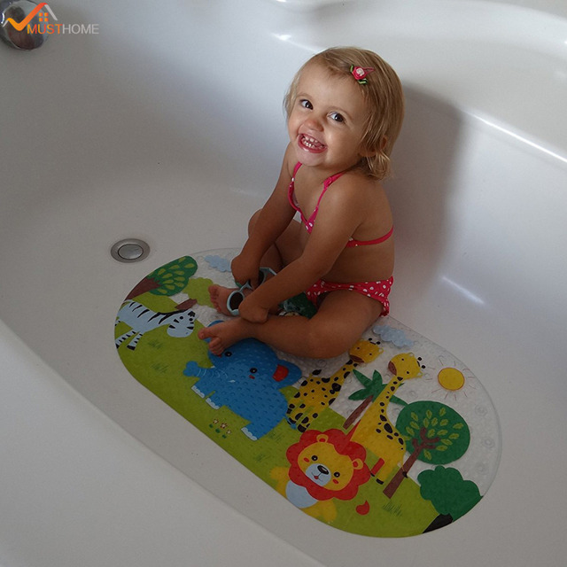39cmx69cm Anti Slip Baby Bath Mat Many Suction Cups Colorful Design Bathtub  Mat For Kids