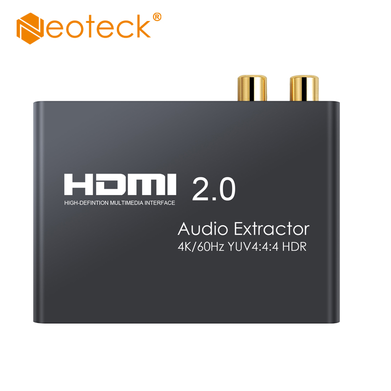Neoteck HDMI 2,0 аудио экстрактор поддержка 4K 60Hz YUV 4:4:4 и HDR HDMI в оптический TOSLINK SPDIF аналоговый RCA L/R 3,5 мм конвертер