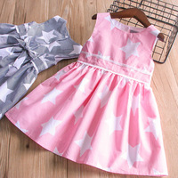 2018 Spring Pink Navy Stripes Star Girls Dress Kids Dress Casual S Child Clothing With Belt