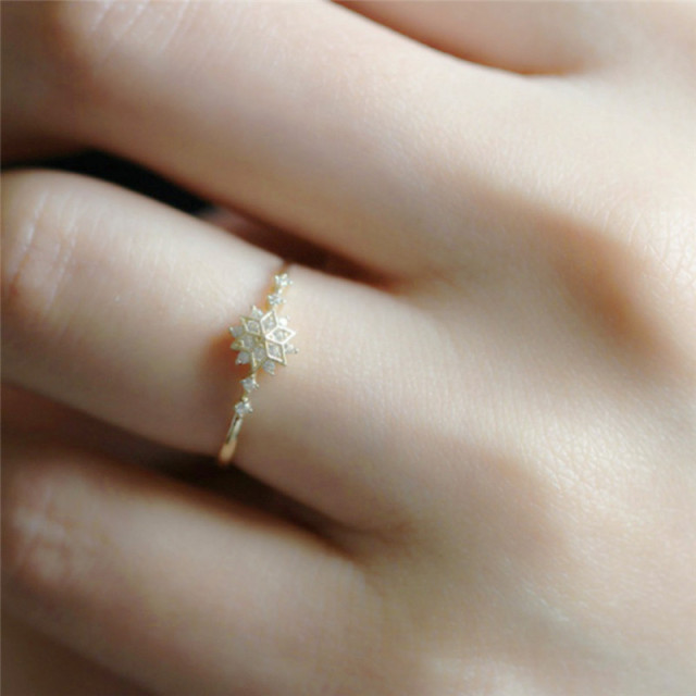 ROMAD Cute Women's Snowflake Rings Female Chic Dainty Rings Party Delicate Rings Wedding Jewelry 3 Colors Size 5-11 R4 4