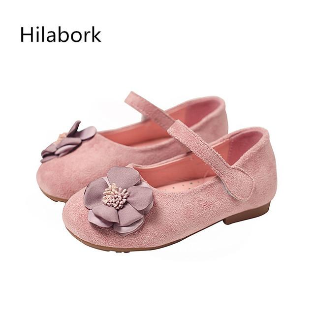 2017 nova primavera meninas shoes flores princesa shoes soft-sola shoes meninas das crianças soft-pele hook & laço de couro shoes