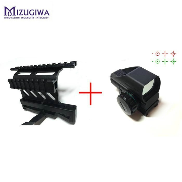 Green Red Dot Sight Reflex Scope 20mm Hunting Tactical AK Holographic 1x22x33 Reflex +Tactical AK Side Scope Mount Quick QD 20mm