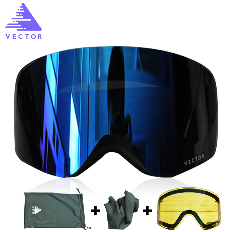 VECTOR Brand Ski Goggles Double Lens UV400 Anti-fog Women Men Snowboard Skiing Glasses Snow Eyewear With Additional Lens 100% brand barstow retro motorcycle glasses anti fog wind skiing glasses mtb road eyewear tear off film cycling glasses men