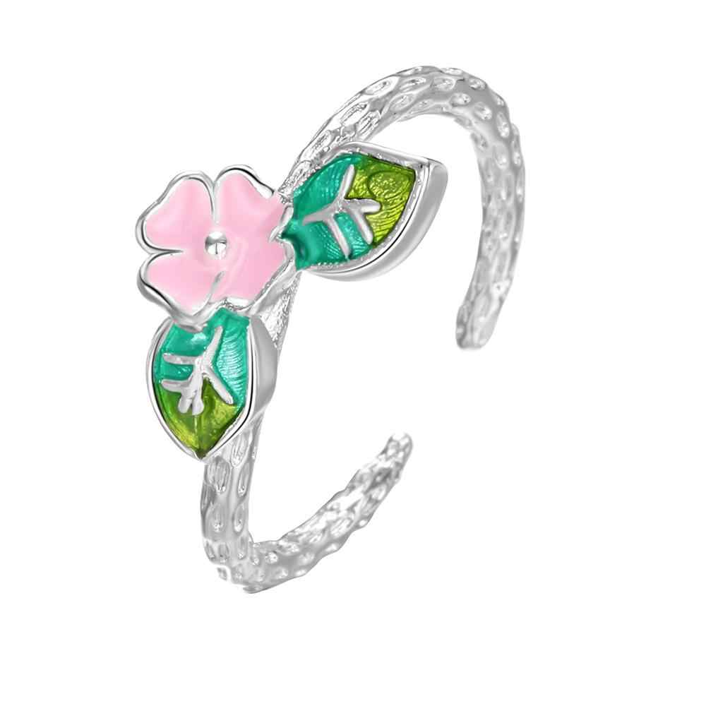 Chandler Beautiful Delicate Cherry Flower Colorful Enamel Ring Silver Branch Leaf Opening Rings For Girls Women Unique Jewelry
