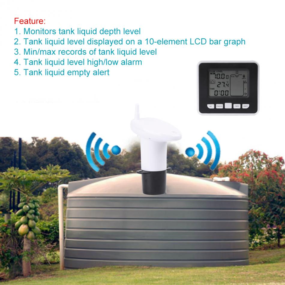 Ultrasonic Liquid Level Sensor with High Accuracy Ultrasonic Water Tank Liquid Depth Level Meter with Temperature