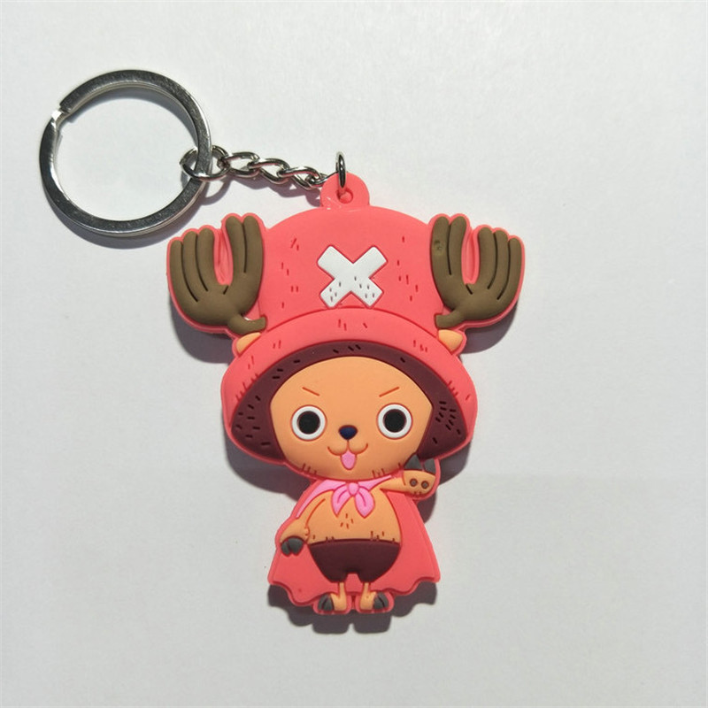 One Piece PVC Keychain Figures Toys Anime Cartoon Luffy Chopper Zoro Nico Nami  Sanji Key Bag Pendants Keyring Dolls 10pcslot (12)
