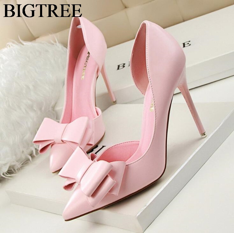 New Spring Summer Women Pumps Sweet Bowknot High-heeled Shoes Thin Pink High Heel Shoes Hollow Pointed Stiletto Elegant 34-39 koovan women pumps 2017 pointed high heeled shoes pink pearls wild night clubs single buckle women s sandals ladies summer