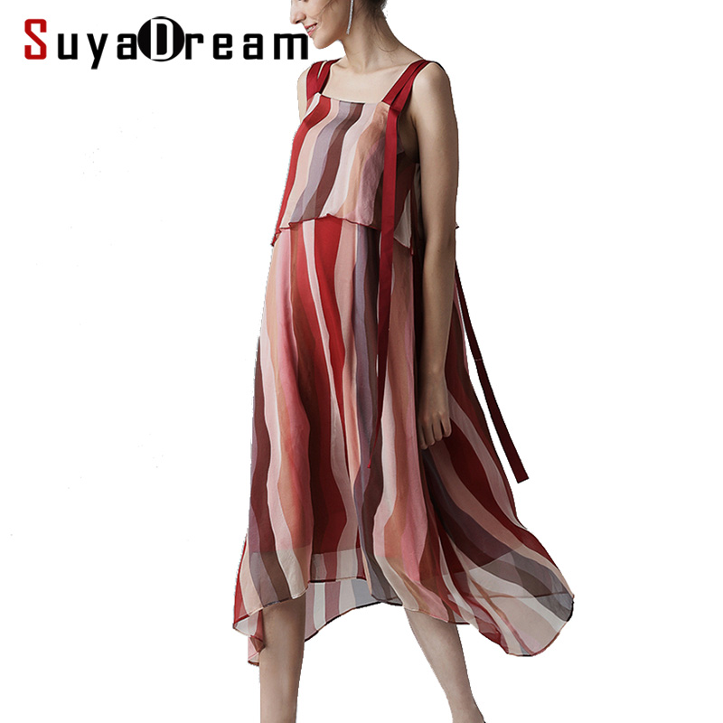Women Silk Dress 100 SILK Georgette Striped Print Dress Spaghetti Strap Casual Dresses for Women 2019