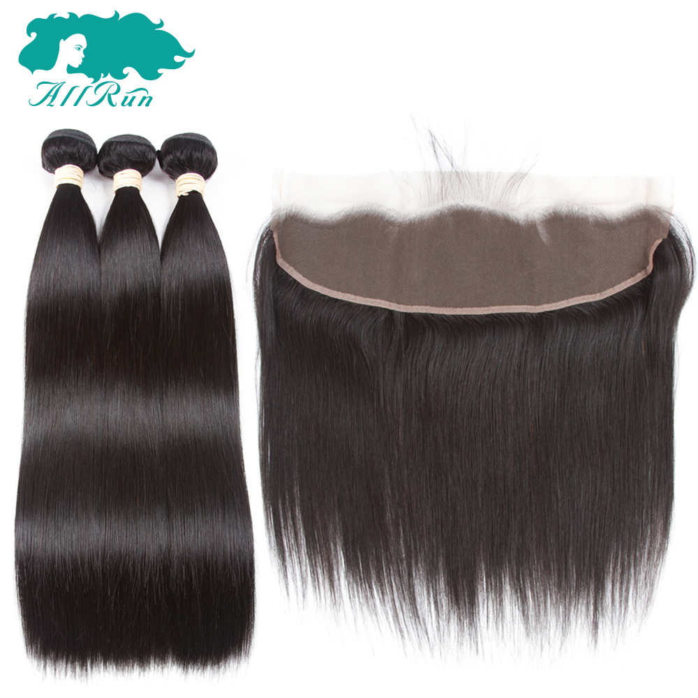 Allrun Pre-Colored Non-Remy Peruvian Straight Hair 3 Bundles With One 13*4 Lace Frontal Human Hair Weaves Free Shipping