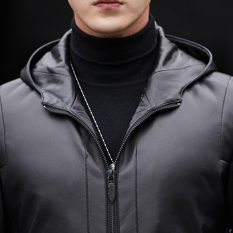Qualität Tasche Männer Fit Echtes Hoody Casual Lange Mäntel Jacke Männlichen Plus Slim Größe Leder Hohe Black Outwear Zipper Agx48qg
