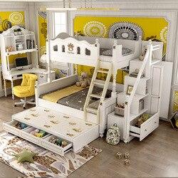Cama de madera maciza para niños, cama alta y baja, litera de princesa, cama multifunción de dos pisos