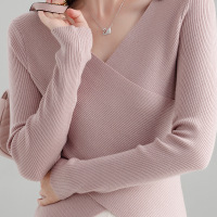 2019 Spring and Autumn knitwear Korean version of women's clothing wool bottom shirt temperament blouse girl