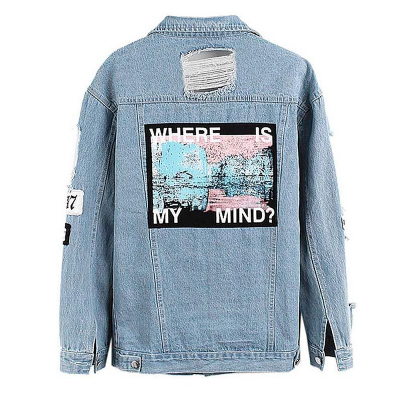 купить Women Denim Coat Jacket Winter Casual Tops Light Blue Letter Patch Ripped Pockets Single Breasted Wear All Seasons Clothes дешево