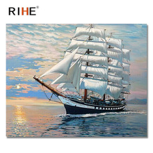 RIHE Sailboat Diy Painting By Numbers Abstract Sunset Ocean Oil On Canvas Cuadros Decoracion Acrylic Wall Picture 2018