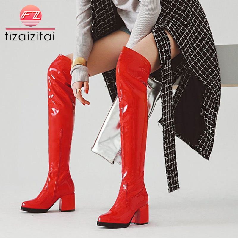 FizaiZifai Plus Size 33-48 Over The Knee Boots Winter Plush Warm Shoes Women Add Fur Comfort Sexy Party Square High Heel BootsFizaiZifai Plus Size 33-48 Over The Knee Boots Winter Plush Warm Shoes Women Add Fur Comfort Sexy Party Square High Heel Boots
