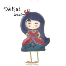 Princess Style Girl Brooch Pins Zinc Alloy Enamel Brooch Chic Charming Cute Doll Accessories 2019 New Design Jewelry For Girls недорого